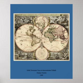 Mapa del mundo antiguo de Nicolao Visscher circa Impresiones