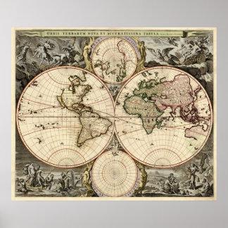 Mapa del mundo antiguo de Nicolao Visscher, circa  Poster
