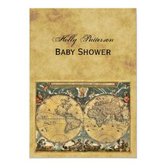 Mapa del mundo antiguo, fiesta de bienvenida al invitación 12,7 x 17,8 cm