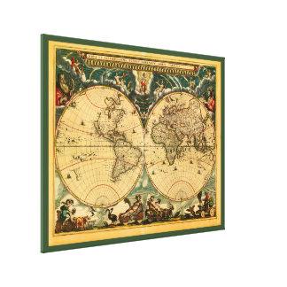 Mapa del mundo antiguo - Joan Blaeu - tapiz 1664 Lienzo