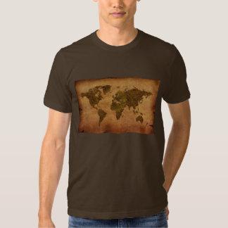 Mapa del mundo antiguo rústico en fondo del camiseta