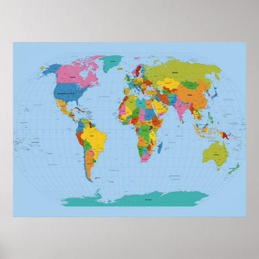 Mapa del mundo brillante posters zazzle - Papel pintado mapa del mundo ...