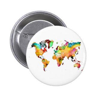 mapa del mundo chapa redonda de 5 cm