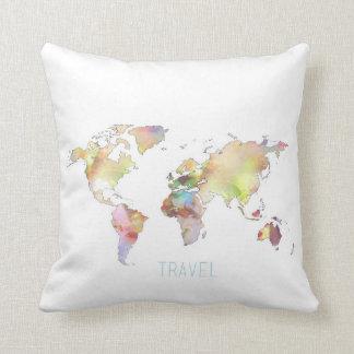 Mapa del mundo colorido 16 x del viaje almohada de