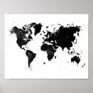 Mapa del mundo de la acuarela póster