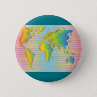 Mapa del mundo de las bandas del arco iris chapa redonda de 5 cm