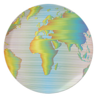 Mapa del mundo de las bandas del arco iris plato de comida
