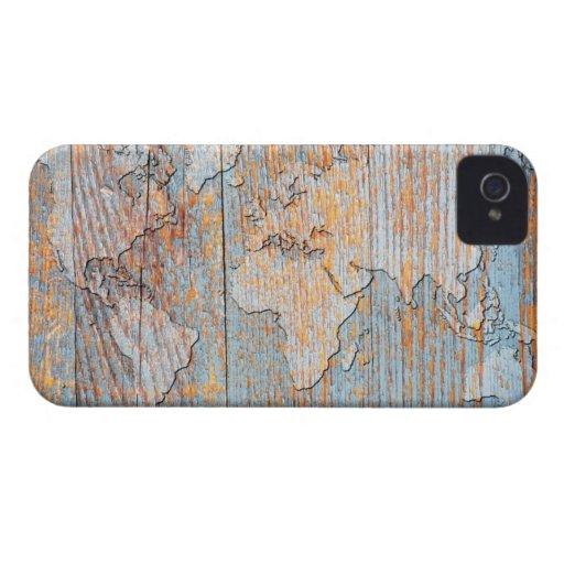 Mapa del mundo de madera artístico Case-Mate iPhone 4 cárcasa