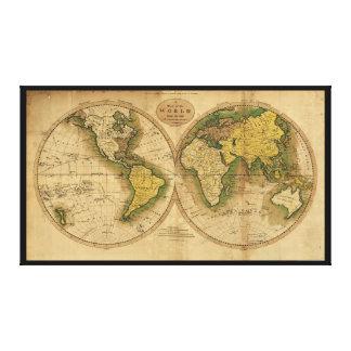 Mapa del mundo de Mathew Carey (1795) Impresión En Lienzo