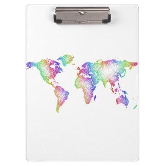 Mapa del mundo del arco iris carpeta de pinza
