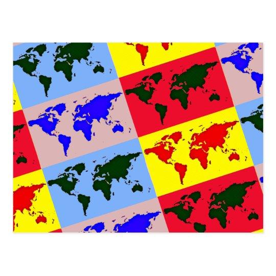 mapa del mundo del estilo del estallido postal