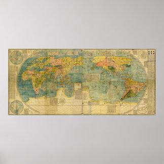 Mapa del mundo del japonés de Kunyu Wanguo Quantu  Póster