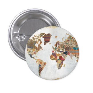 Mapa del mundo del modelo chapa redonda de 2,5 cm