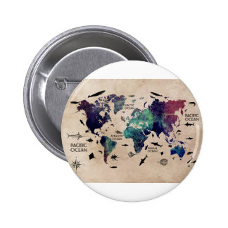 mapa del mundo del océano chapa redonda de 5 cm