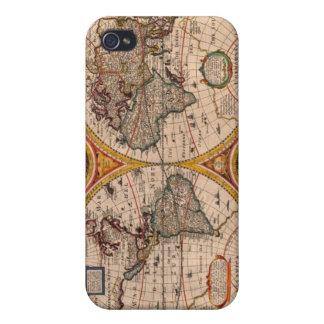 Mapa del mundo del renacimiento iPhone 4 carcasa