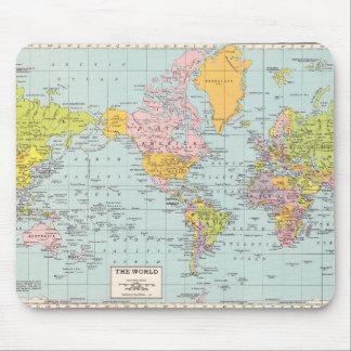 Mapa del mundo del vintage alfombrilla de ratón