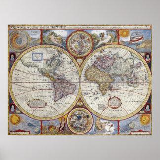 """Mapa del mundo del vintage de 1627, 20"""" x 26"""" póster"""