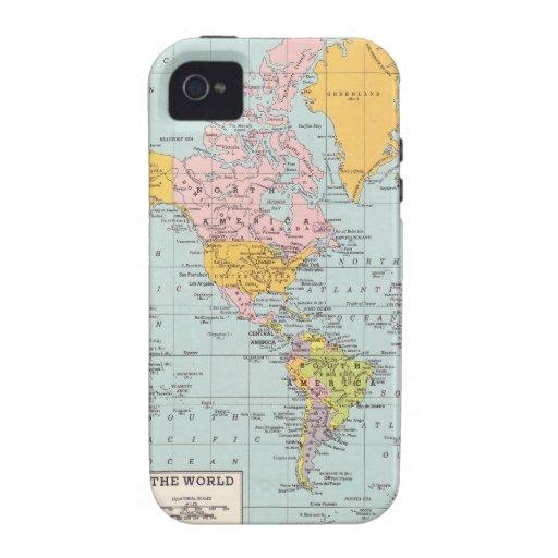Mapa del mundo del vintage iPhone 4 fundas