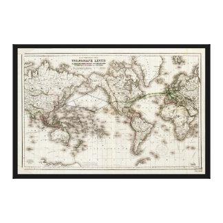 Mapa del mundo del vintage que muestra las líneas impresión en lienzo