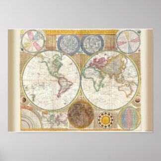 Mapa del mundo del vintage y carta de la póster