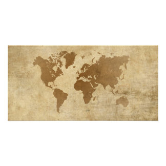 Mapa del mundo descolorado del pergamino impresion fotografica