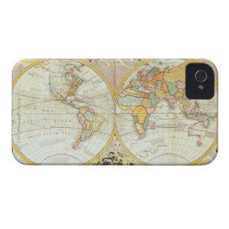Mapa del mundo doble del hemisferio iPhone 4 cárcasas