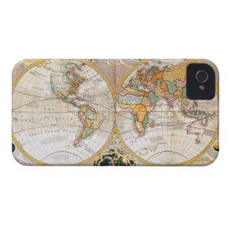 Mapa del mundo dual antiguo del hemisferio Case-Mate iPhone 4 fundas
