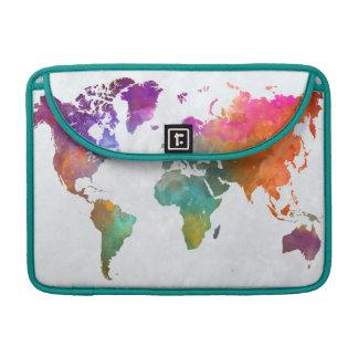 Mapa del mundo en acuarela funda para MacBook pro