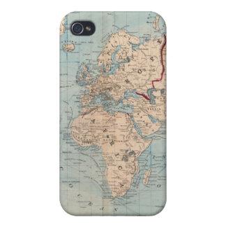 Mapa del mundo en la proyección de Mercator iPhone 4 Cárcasa