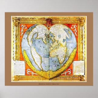 Mapa del mundo francés medieval en forma de póster