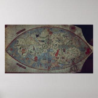 Mapa del mundo Genoese, diseñado por Toscanelli Póster