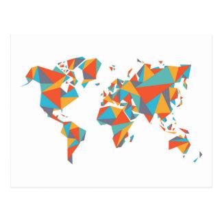 Mapa del mundo geométrico abstracto postal