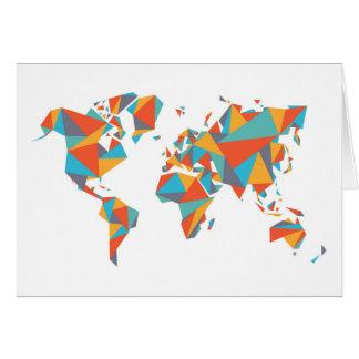 Mapa del mundo geométrico abstracto tarjeta de felicitación