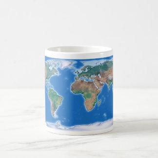 Mapa del mundo global de la taza de café