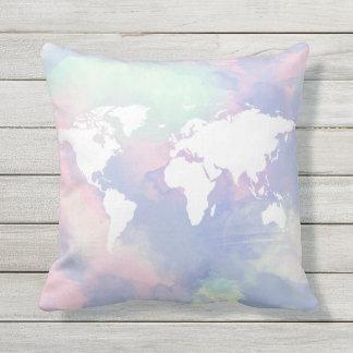 mapa del mundo hermoso de la acuarela cojín decorativo