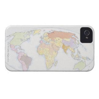 Mapa del mundo ilustrado 3 Case-Mate iPhone 4 carcasa