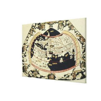 Mapa del mundo lienzo envuelto para galerías