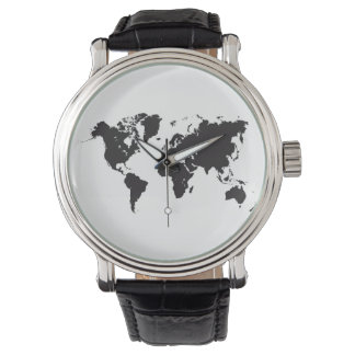 mapa del mundo negro reloj de pulsera