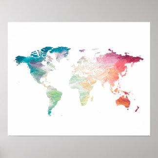 Mapa del mundo pintado póster