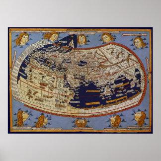 Mapa del mundo Ptolemaic antiguo, Juan de Arnsheim Póster