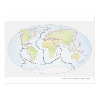 Mapa del mundo que muestra márgenes de la placa postal