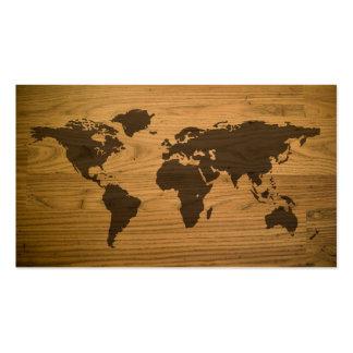 Mapa del mundo texturizado viruta plantillas de tarjetas de visita