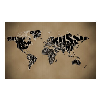 Mapa del mundo tipográfico póster