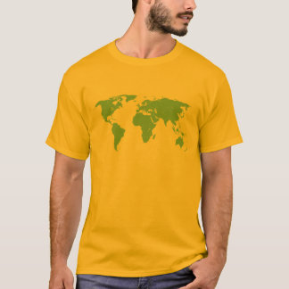 Mapa del mundo verde con la camiseta de los países
