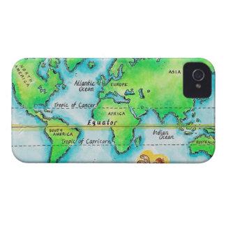 Mapa del mundo y del ecuador iPhone 4 fundas