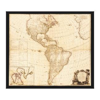 Mapa del norte y de Suramérica (1786) Impresión En Lienzo