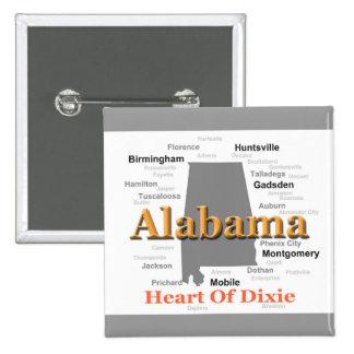Mapa del orgullo de Alabama Chapa Cuadrada