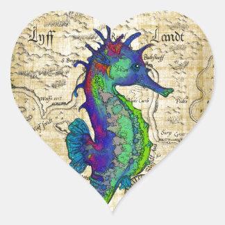mapa del papiro del seahorse pegatina en forma de corazón