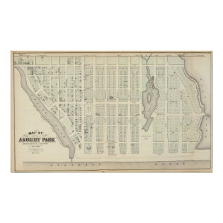 Mapa del parque de Asbury, el condado de Monmouth, Póster