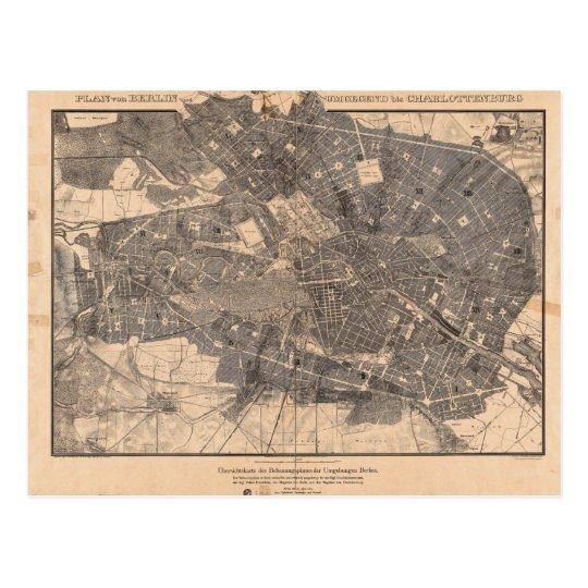Mapa del plan de desarrollo de Berlín Alemania en Postal